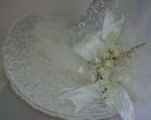 Beautiful Off White & White Wedding Witch Hat