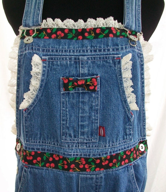 Cute Repurposed Reconstructed Cherry Picking Denim Overalls with Lace Trim Rockabilly County Chic