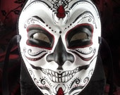 Joking Spider, Day of the Dead Joker Style Red and Black Traditional Spider Mask