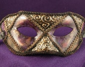 Old Orleans Sir Mask, Purple and gold eyemask with 3D gold swirls and trim