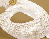 Splendore Mask, White Masquerade Eyemask with Gold 3D Swirls and Gold Embellishment