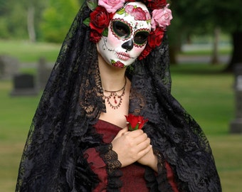 Custom Day of the Dead Wedding Mask,  full faced paper mache mask wtih attached headdress and roses