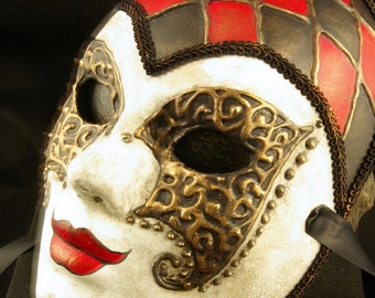 Domino Mask, Fullfaced Couture Harlequin Venetian styled Paper Mache Mask with red, black, and gold