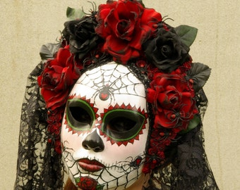 Viuda Negra Mask, Day of the Dead full faced mask with headdress, burnt silk roses, and trailing lace