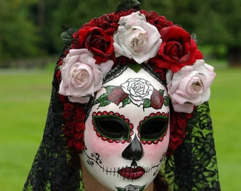 Rosa Reina Mask, Day of the Dead full faced paper mache mask with attached headdress