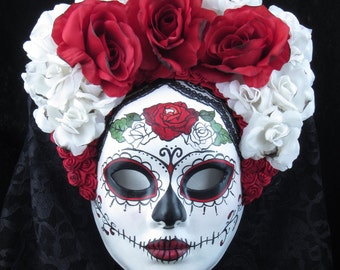 Right Red Mask, Day of the Dead full faced mask with attached headdres