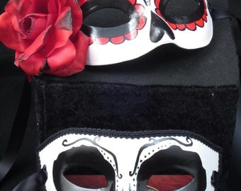 Beloved Masks, Day of the Dead male and female paired paper mache masks