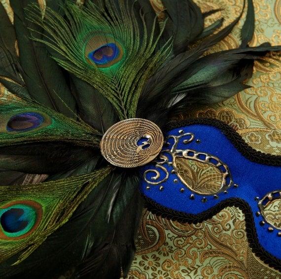 Mask-Handmade Masquerade/Costume/Halloween/Mardi Gras Feather Mask by Effigy, Peacock Blue