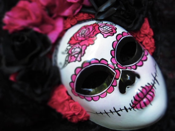 Hot Pink Mask for Day of the Dead/Dia de los Muertos/Halloween/Costume