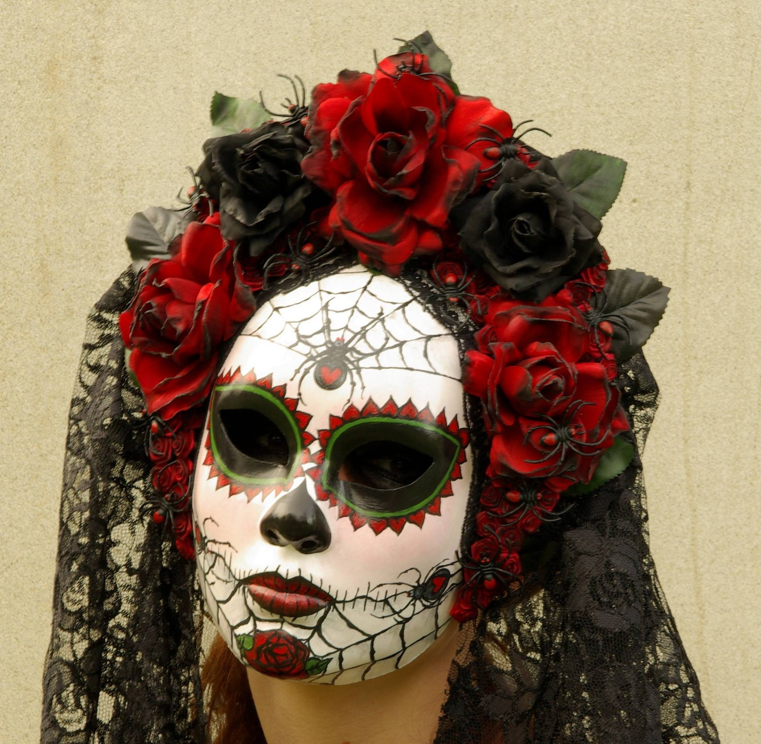 Viuda Negra Mask Day of the Dead full faced mask with