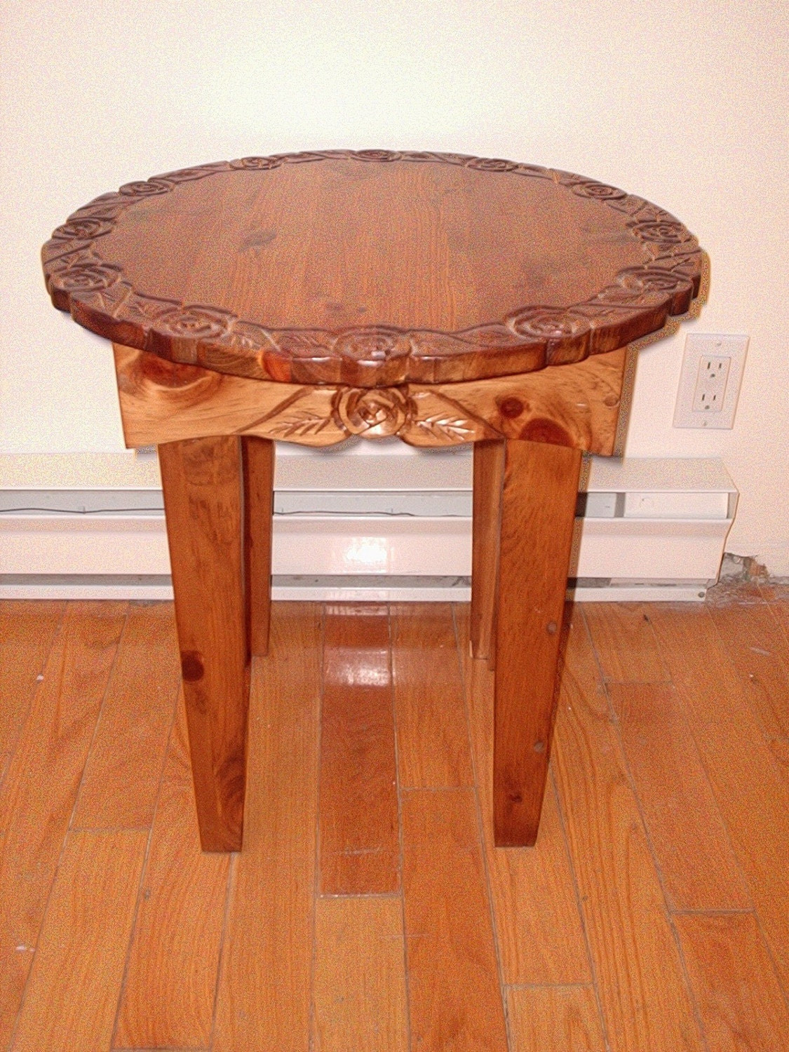 Pine Table Round End Table Coffee Table