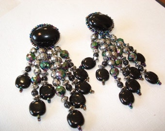 Vintage Black Beaded  Earrings Jewelry Black  Silver Sparkle  Dress Up Earrings