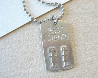Best Friends Necklace Silver Necklace Metal Tag Necklace, Jewelry, Ball Chain People Tag