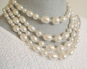 Pearl four Strand Necklace Vintage Pearl Necklace White Pearl Four Strand Wedding Necklace Bridal Jewelry