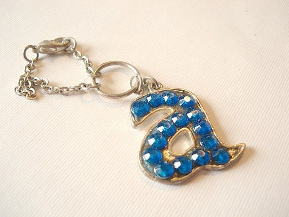 Vintage Letter Keychain / Blue Rhinestone Letter A