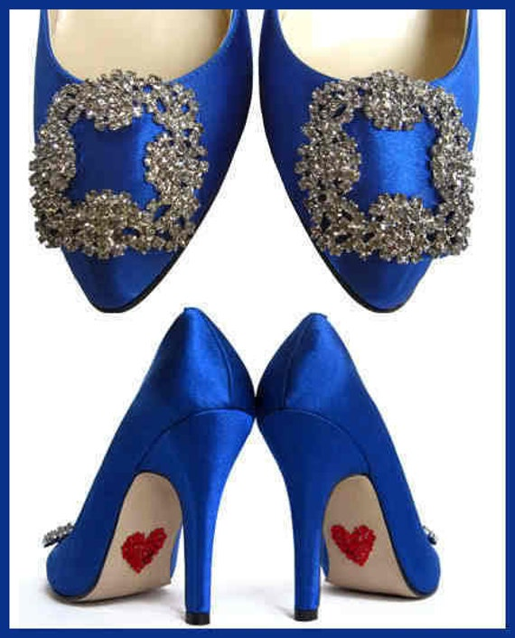 LAST PAIR - Something Blue with Red Hearts On Sole Crystal Wedding Pumps Cobalt Blue Bridal Shoes size 9