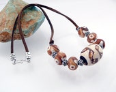 Necklace - Southwest Ceramic Rust, Cream, Brown, Geometric