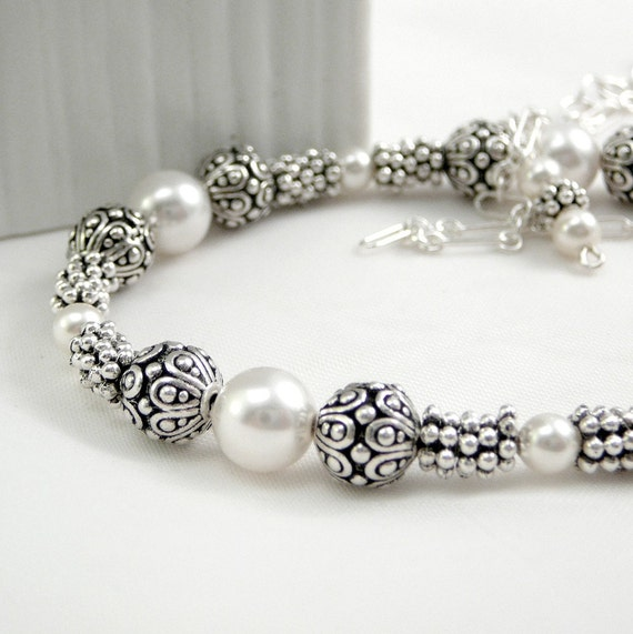 Necklace - White Pearl, Swarovski with Sterling Chain