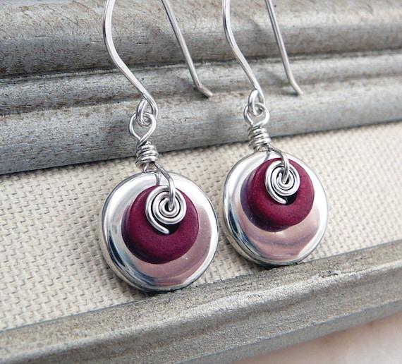 Petite Silver and Red Dangle Earrings, Mykonos Ceramic