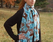 Mod Swirls Aqua Blue Brown Print Fleece Scarf