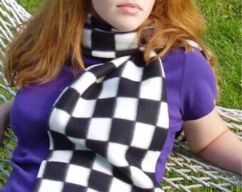 Black White Check NASCAR Flag Square Print Fleece Scarf