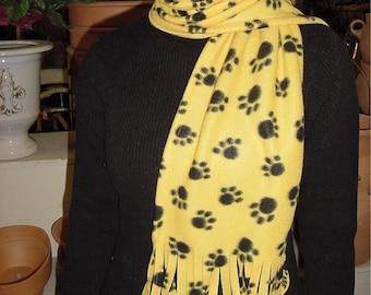 Gold Black Paw Print MU Cat Print Fleece Scarf
