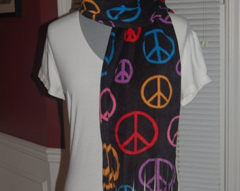 Peace Symbols Signs Rainbow Black Print Fleece Scarf
