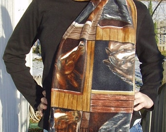 Horse Windowpane Print Fleece Scarf