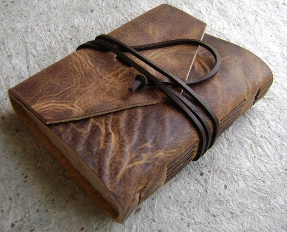 Handmade Leather Journal/Diary/Sketch, Rugged Mahogany, 4 1/4 inches by 5 1/2 inches