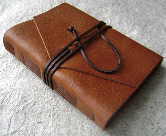 Handmade Leather Journal, Saddle brown, rustic leather journal by Dancing Grey Studio on Etsy