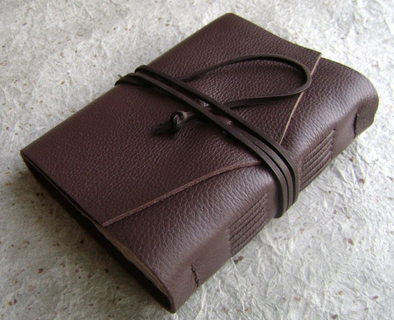 Leather Journal, Chocolate, handmade rustic journal by Dancing Grey Studio on Etsy