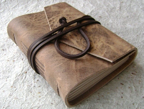 Mini  Leather Journal, Distressed Brown, handmade journal by Dancing Grey Studio on Etsy
