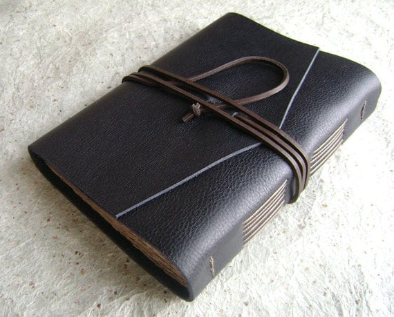 Leather Journal, Midnight Blue/Navy with tan stitching, handmade journal by Dancing Grey Studio on Etsy