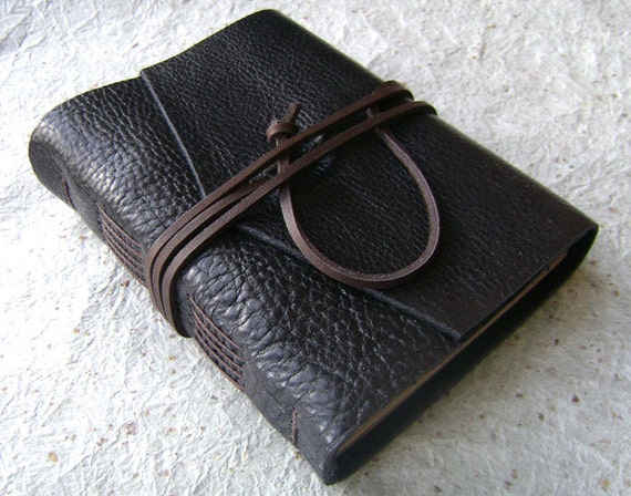 Leather Journal, Raven Black with brown tie closure, handmade rstic journal by Dancing Grey Studio on Etsy