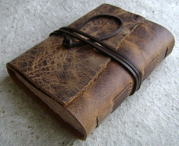 Leather journal, Distressed Brown, rustic journal by Dancing Grey Studio on Etsy