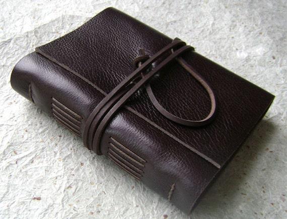 Leather Journal, Dark Brown, handmade rstic journal by Dancing Grey Studio on Etsy