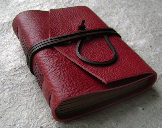 Leather Journal, Red with dark brown tie closure, handmade rstic journal by Dancing Grey Studio on Etsy