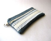 Zipper pouch, pencil case, purse - The Honey Pouch in jeans fabric - Bridal pouch
