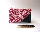 SALE 20% OFF - Prices already reduced - The Picnic Coin Purse in pink - dark pink and white cotton/linen  fabric and jean/ jean