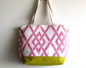 SALE 20% OFF - Prices already reduced - Leona Summer Market Bag in Yellow and geometric pink and white fabric