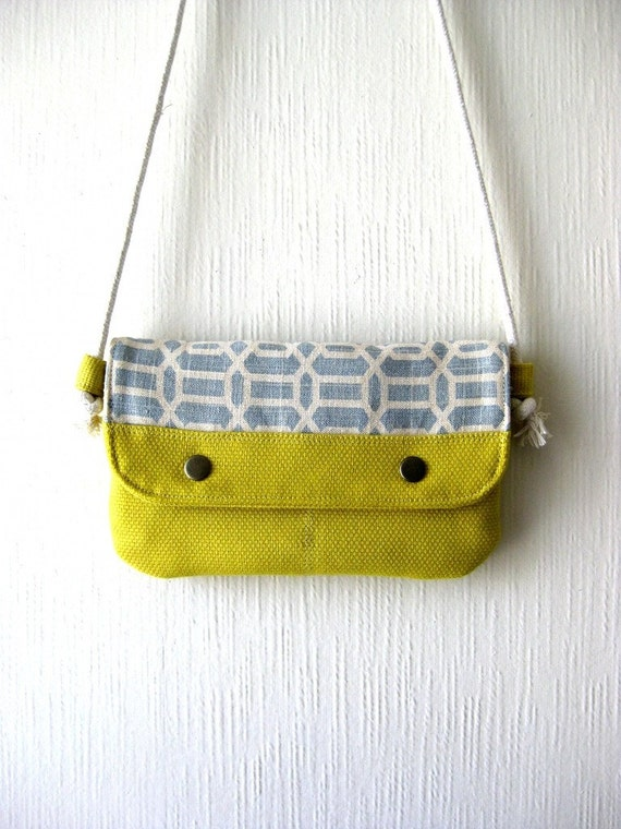 Christmas in July - SALE 20 Percent OFF - It was 36 USD -  The Innocence Little Bag in yellow/ light blue and cream  fabric
