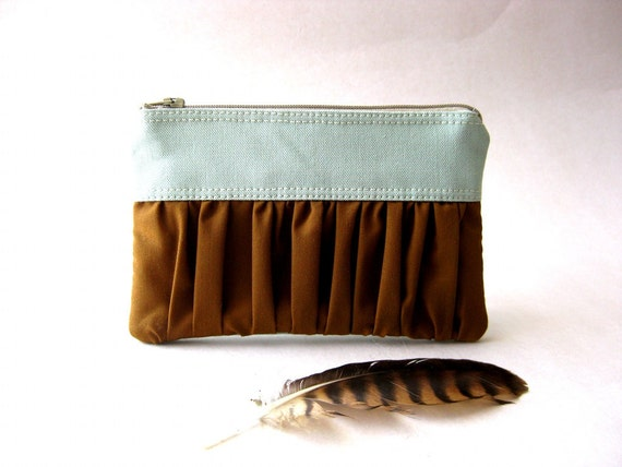 SALE 20% OFF - Prices already reduced -Zipper pouch, purse - The True Romantic Coin Purse in light blue-green / brown
