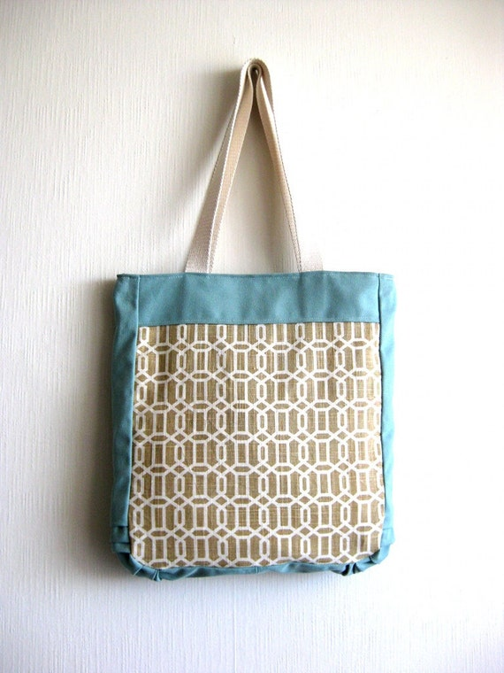 20% OFF- Etsy Black Friday- The Lola Bag - Fabric Tote Bag in light blue/light brown and cream geometric fabric