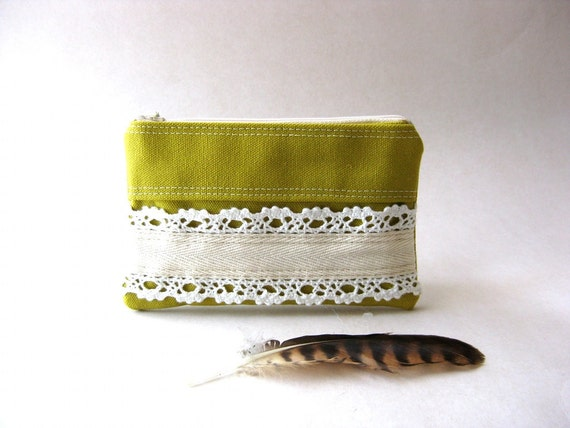 SALE 20% OFF - Prices already reduced - Zipper Lace Coin Purse, bridal pouch - The Honey Coin Purse in yellow - green canvas