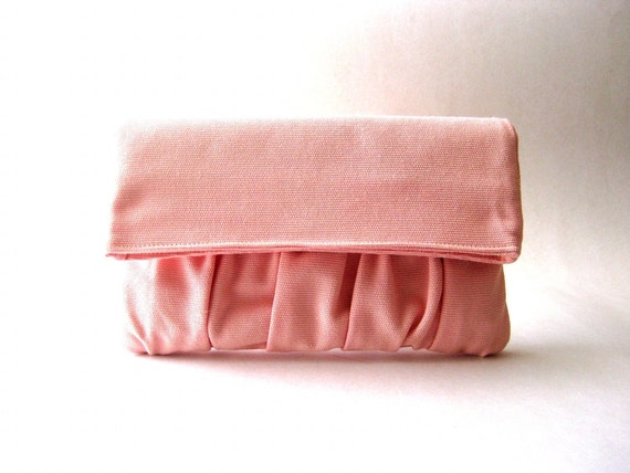 Fold over, handbag, clutch, pouch, purse - Delicada Fold Over Clutch in Pink Cotton - SALE - Prices already reduced