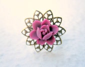 Pink Rose Filigree Ring. Flower Adjustable - Lotus - SALE