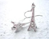 Eiffel Tower Earrings. Silver Charm Earrings. Dangle Earrings. Gift for Her. Womens Earrings. Whimsical - CLEARANCE SALE