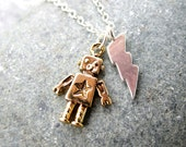 Robot Necklace Cute Charm Necklace Lightning Bolt Necklace Sterling Silver