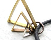 Mens Leather Necklace w/ Triangle Pendant Geometric Necklace For Him Unisex Jewelry