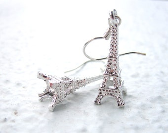 Eiffel Tower Earrings. Silver Charm Earrings. Dangle Earrings. Gift for Her. Womens Earrings. Whimsical - CLEARANCE SALE